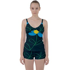 Whimsical Blue Flower Green Sexy Tie Front Two Piece Tankini by Mariart