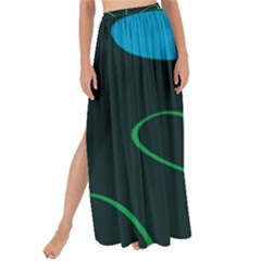 Whimsical Blue Flower Green Sexy Maxi Chiffon Tie Up Sarong by Mariart