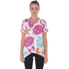 Animals Sea Flower Tropical Crab Cut Out Side Drop Tee