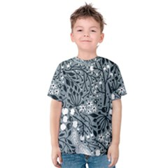 Abstract Floral Pattern Grey Kids  Cotton Tee by Mariart