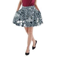 Abstract Floral Pattern Grey A Line Pocket Skirt by Mariart