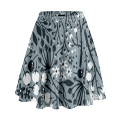 Abstract Floral Pattern Grey High Waist Skirt by Mariart