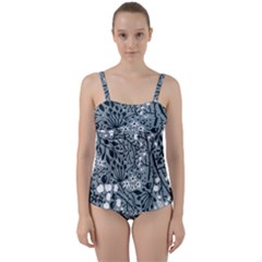 Abstract Floral Pattern Grey Twist Front Tankini Set