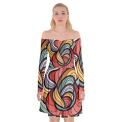 Beautiful Pattern Background Wave Chevron Waves Line Rainbow Art Off Shoulder Skater Dress by Mariart