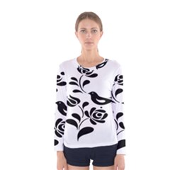 Birds Flower Rose Black Animals Women s Long Sleeve Tee by Mariart