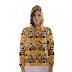Amfora Leaf Yellow Flower Hooded Wind Breaker (women) by Mariart