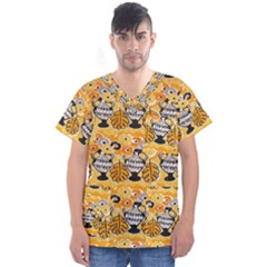 Amfora Leaf Yellow Flower Men s V Neck Scrub Top by Mariart