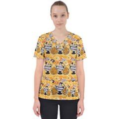 Amfora Leaf Yellow Flower Scrub Top by Mariart