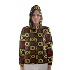 African Textiles Patterns Hooded Wind Breaker (women) by Mariart