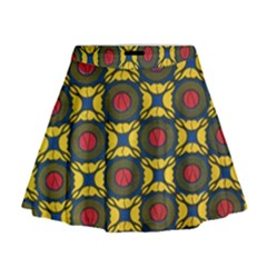African Textiles Patterns Mini Flare Skirt by Mariart
