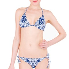 Birds Fish Flowers Floral Star Blue White Sexy Animals Beauty Bikini Set by Mariart