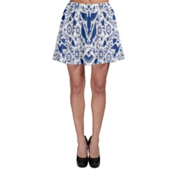 Birds Fish Flowers Floral Star Blue White Sexy Animals Beauty Skater Skirt by Mariart