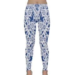 Birds Fish Flowers Floral Star Blue White Sexy Animals Beauty Classic Yoga Leggings by Mariart