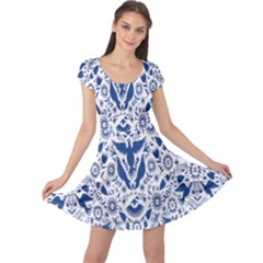 Birds Fish Flowers Floral Star Blue White Sexy Animals Beauty Cap Sleeve Dress by Mariart