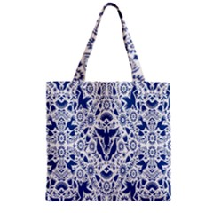 Birds Fish Flowers Floral Star Blue White Sexy Animals Beauty Zipper Grocery Tote Bag by Mariart