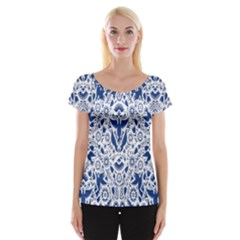Birds Fish Flowers Floral Star Blue White Sexy Animals Beauty Cap Sleeve Tops by Mariart