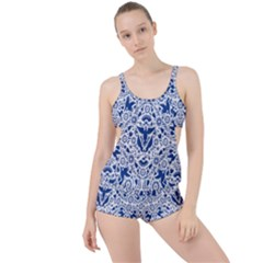 Birds Fish Flowers Floral Star Blue White Sexy Animals Beauty Boyleg Tankini Set  by Mariart
