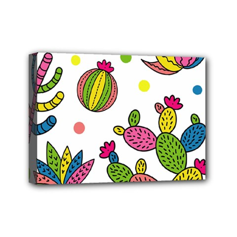 Cactus Seamless Pattern Background Polka Wave Rainbow Mini Canvas 7  X 5