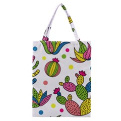 Cactus Seamless Pattern Background Polka Wave Rainbow Classic Tote Bag by Mariart