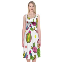 Cactus Seamless Pattern Background Polka Wave Rainbow Midi Sleeveless Dress by Mariart