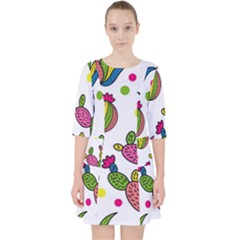 Cactus Seamless Pattern Background Polka Wave Rainbow Pocket Dress by Mariart