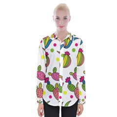 Cactus Seamless Pattern Background Polka Wave Rainbow Womens Long Sleeve Shirt by Mariart