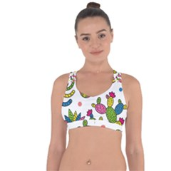 Cactus Seamless Pattern Background Polka Wave Rainbow Cross String Back Sports Bra by Mariart