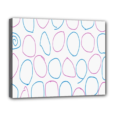 Circles Featured Pink Blue Canvas 14  X 11  by Mariart