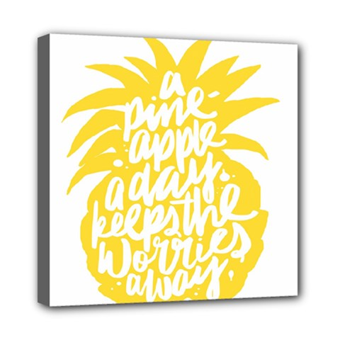 Cute Pineapple Yellow Fruite Mini Canvas 8  X 8