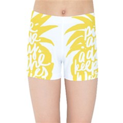 Cute Pineapple Yellow Fruite Kids Sports Shorts by Mariart