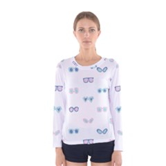 Cute Sexy Funny Sunglasses Kids Pink Blue Women s Long Sleeve Tee by Mariart