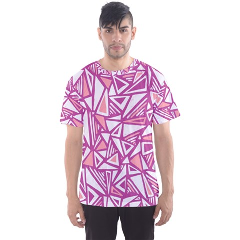 Conversational Triangles Pink White Men s Sports Mesh Tee by Mariart