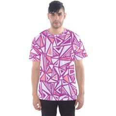Conversational Triangles Pink White Men s Sports Mesh Tee