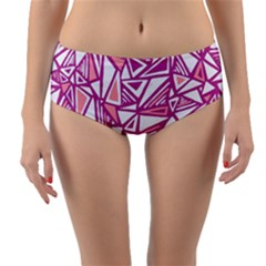 Conversational Triangles Pink White Reversible Mid Waist Bikini Bottoms by Mariart