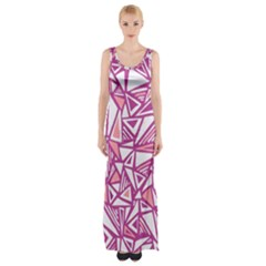 Conversational Triangles Pink White Maxi Thigh Split Dress