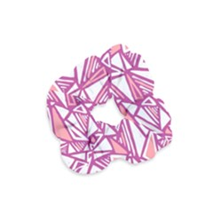 Conversational Triangles Pink White Velvet Scrunchie by Mariart