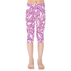 Conversational Triangles Pink White Kids  Capri Leggings  by Mariart