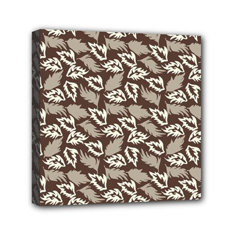 Dried Leaves Grey White Camuflage Summer Mini Canvas 6  X 6  by Mariart