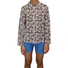 Dried Leaves Grey White Camuflage Summer Kids  Long Sleeve Swimwear