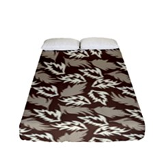 Dried Leaves Grey White Camuflage Summer Fitted Sheet (full/ Double Size) by Mariart