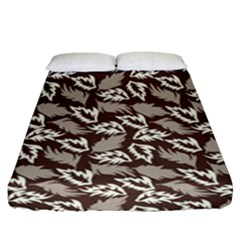 Dried Leaves Grey White Camuflage Summer Fitted Sheet (queen Size) by Mariart