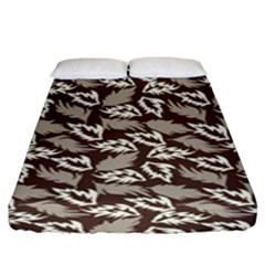 Dried Leaves Grey White Camuflage Summer Fitted Sheet (king Size) by Mariart