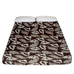Dried Leaves Grey White Camuflage Summer Fitted Sheet (california King Size) by Mariart