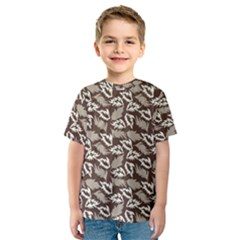 Dried Leaves Grey White Camuflage Summer Kids  Sport Mesh Tee
