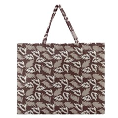 Dried Leaves Grey White Camuflage Summer Zipper Large Tote Bag by Mariart