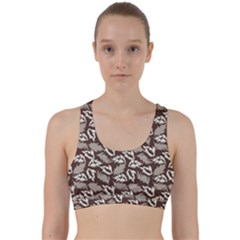 Dried Leaves Grey White Camuflage Summer Back Weave Sports Bra
