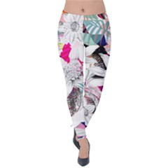 Flower Graphic Pattern Floral Velvet Leggings