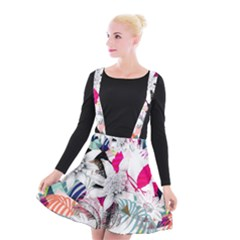 Flower Graphic Pattern Floral Suspender Skater Skirt by Mariart