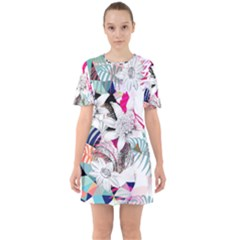 Flower Graphic Pattern Floral Sixties Short Sleeve Mini Dress by Mariart