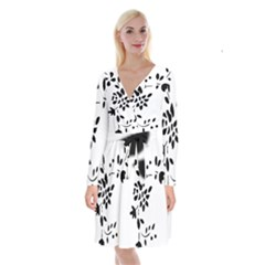 Flower Rose Black Sexy Long Sleeve Velvet Front Wrap Dress